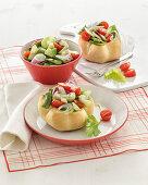Vegetable salad in bread rolls