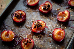 Roasted plums with brown sugar and star anise