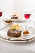 Beef fillet steak with a herb-pepper salt and pumpkin chutney