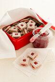 Square raspberry jam sandwich biscuits