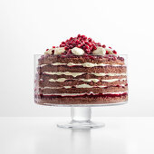 Berry trifle with white chocolate cream and pomegranate seeds