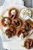Lamb Mint Yorkshires with Horseradish Creme Fraiche