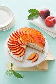 Amaretti and nectarine cheesecake