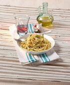 Spaghetti aglio olio with tabasco