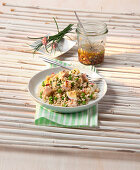 Rice salad with turkey breast, peas, egg and soy sauce