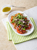 A tomato and bean salad with a mustard vinaigrette