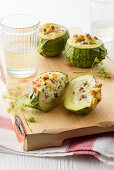 Stuffed courgettes with a crispy croûton crust