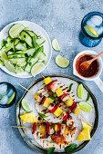 Chicken skewer tacos