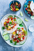 Fish tacos with pineapple and pico de gallo