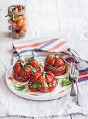 Tomatoes stuffed with minced meat and rice
