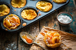 Small Dutch baby pancakes with caramelized apples