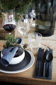 Festively set wooden table