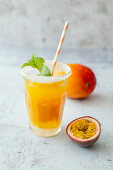 Feels like Asia (mocktail with passion fruit juice, mango puree and Tabasco)