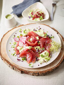 Tuna sashimi with cashew cream