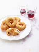 Cullurielli salati (deep-fried potato rings with anchovies, Italy)