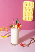 Pina colada coctail with pinapple and cherries