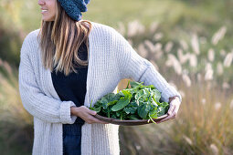 Woman wearing basket with fresh spinach