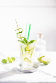 A summer Moscow Mule with cucumber, lime and basil