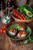 Cottage cheese avocado toast with roasted cherry tomatoes
