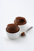 Bread souffles with almond milk and cocoa beans