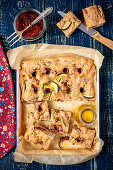 Wholemeal focaccia with dried tomatoes and courgette