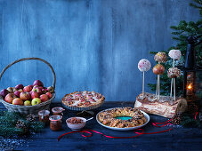 Christmas buffet with apple chutney, apple pie and caramel apples