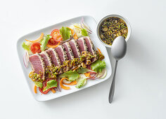 Tuna fish tataki with a ginger and spring onion sauce