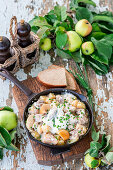 Apple pork stew with sour cream
