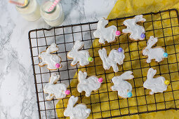 Easter bunny biscuits on a cooling rack