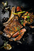 Ribeye steak with garlic, rosemary and peperoni