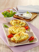 Grilled potatoes filled with Munster cheese
