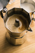 Geyser coffee maker and milk pitcher