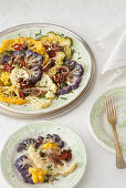 Mediterranean-style, oven-roasted cauliflower escalope