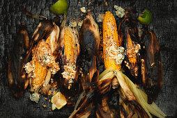 Corn cob with Szechuan peanut butter
