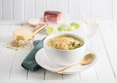 Baden leek soup with cheese and bacon