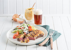 Düsseldorf Senfrostbraten (Steak cooked with mustard)
