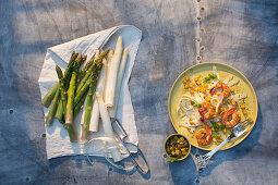 Asparagus pasta with king prawns