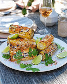 Grilled corn with togarashi, lime and coriander
