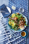 Duck confit salad with kale and pickled pineapple