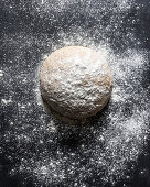 An unbaked loaf of bread sprinkled with flour