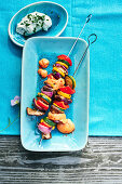 Summer vegetable and shallot skewers