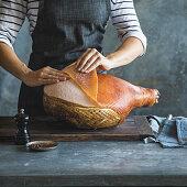 Preparing glazed Christmas ham