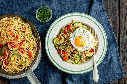 Spaghetti with veggies and egg