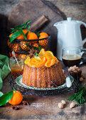 Orange cake with almond and rosemary caramel