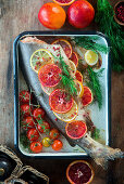 Pink salmon roasted with blood orange