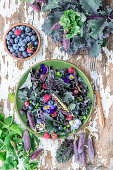 Summer berry purple kale salad