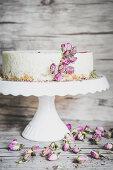 No bake milk rice cake with rose petals