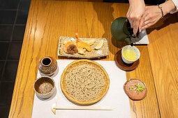 Soba noodles, prawn tempura and tea