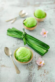 Refreshing sorbet made from pandan leaves, refined sugar and lime juice (vegan)