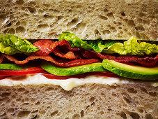 A bacon, lettuce and tomato sandwich on white bread